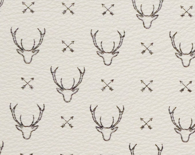 "Leather 8""x10"" Deer Head Silhoutte on white Cowhide 3-3.25 oz / 1.2-1.3 mm PeggySueAlso™ E1310-01 Hides Available"