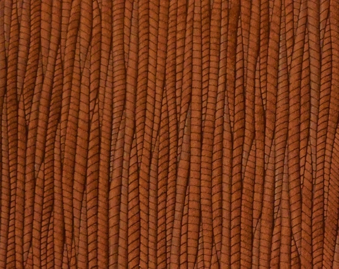 """Leather 12""""x12"""" Palm Leaf CINNAMON SPICE Cowhide 3-3.25 oz / 1.2-1.3 mm PeggySueAlso™ E3171-04 hides available"""