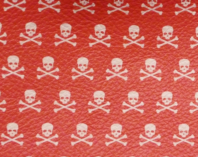 """Halloween Leather 5""""x11"""" SKULLS and Crossbones on RED Cowhide 2.75-3 oz/1.1-1.2 mm #500 PeggySueAlso™ E4601-09"""