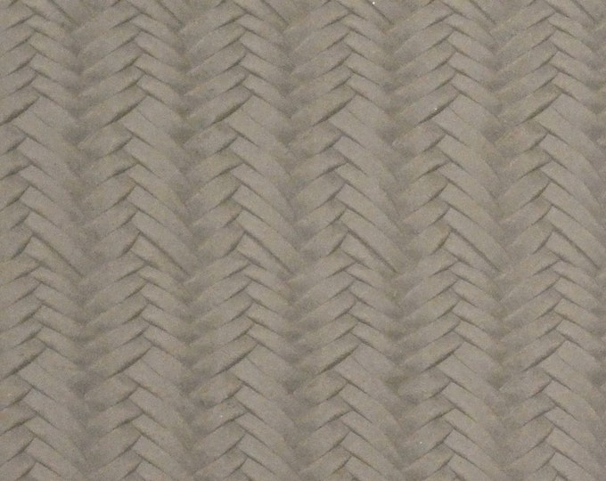 """Leather 8""""x10"""" Braided Fishtail THUNDER TAUPE (brownish gray)  Cowhide Soft USA 3.25-3.5 oz / 1.3-1.4 mm PeggySueAlso™ E3160-62"""