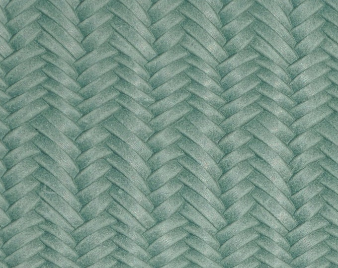 "Leather 8""x10"" Braided ITALIAN Fishtail SEA FOAM Green Cowhide 3 oz / 1.2 mm PeggySueAlso™ E3160-35 hides available"