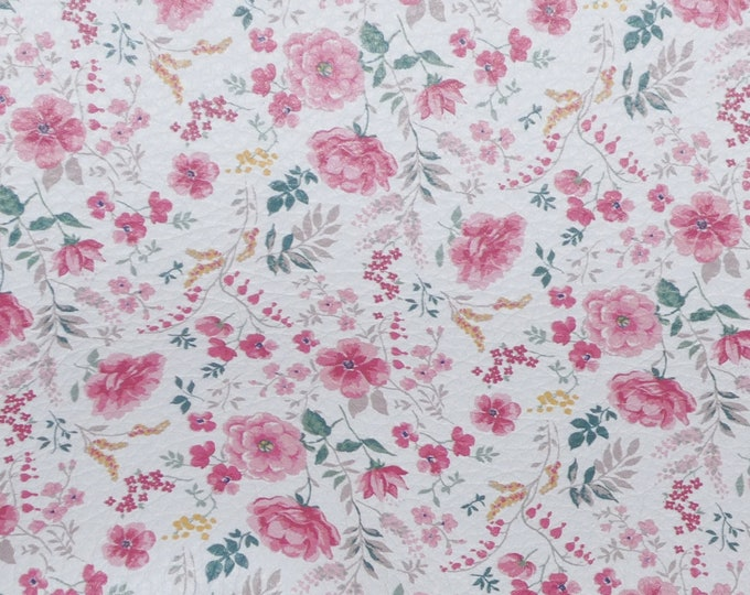 """Leather 8""""x10"""" Field of Pink Mini AZALEAS on WHITE Floral Cowhide 2.75-3 oz/1.1-1.2 mm PeggySueAlso™ E1193-01 hides available"""