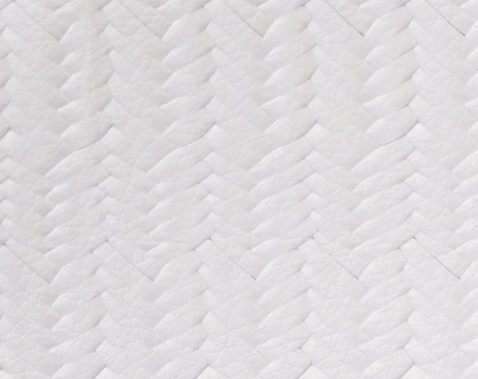 "Leather 8""x10"" Braided USA Fishtail WHITE Grain Cowhide 3-3.5 oz / 1.2-1.4 mm PeggySueAlso™ E3160-15 hides available"