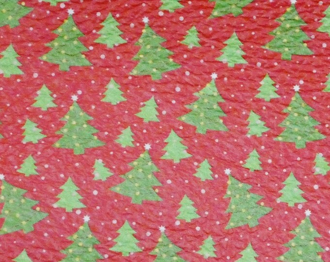 "Leather 8""x10"" Christmas TREES in the SNOW on Red Cowhide 2.75-3 oz/1.1-1.2 mm PeggySueAlso™ E1382-03 hides available"