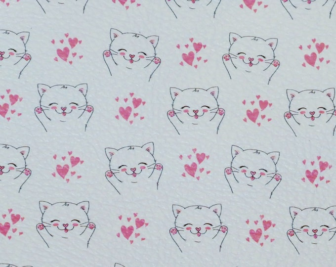 """Leather 8""""x10"""" SWEET Pink KITTY LOVE on White cowhide 3-3.25 oz / 1.2-1.3 mm PeggySueAlso™ E4700-04 hides available"""