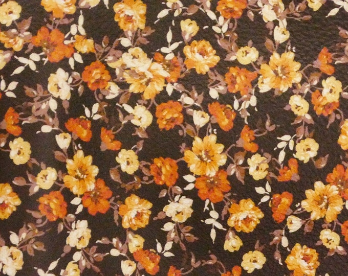 "Leather 12""x12"" Orange Array of Tiny Flowers on Dark Brown Cowhide 2.75-3 oz/1.1-1.2mm PeggySueAlso™ E4600-03 hides available"
