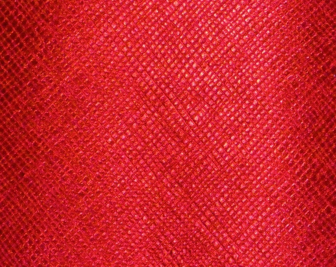"Metallic Leather 8""x10"" Saffiano RED METALLIC Weave Embossed Cowhide USA 2.75-3oz/1.1-1.2mm PeggySueAlso™ E8201-26 hides available"