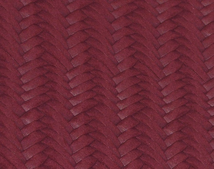 """Leather 12""""x12""""  Braided Fishtail MAROON  Cowhide 2.5-3 oz / 1-1.2 mm PeggySueAlso™ E3160-60 Hides available"""