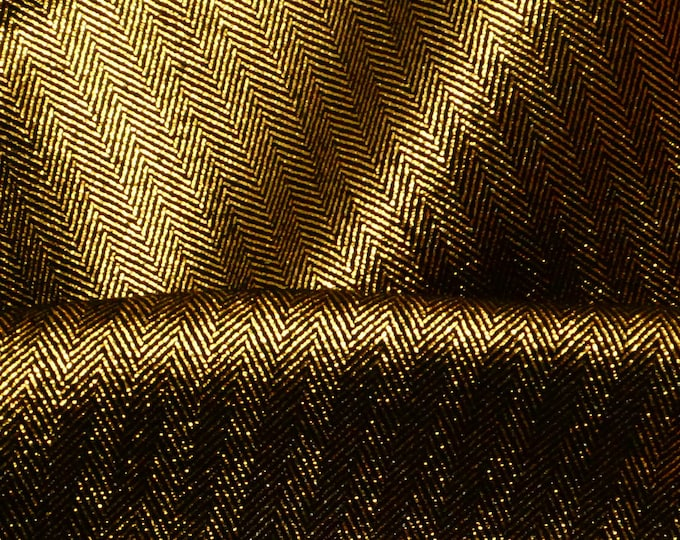 "Metallic Leather 12""x12"" GOLD STRIPED TWEED on Black Cowhide 3-3.25 oz / 1.2-1.3 mm PeggySueAlso™ E7215-02 Trial"