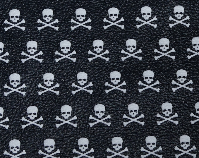 """Halloween 5""""x11"""" Mini SKULLS and Crossbones on Black Cowhide Leather perfect for earrings 2.75-3 oz/1.1-1.2 mm #912 PeggySueAlso™ E4601-01"""