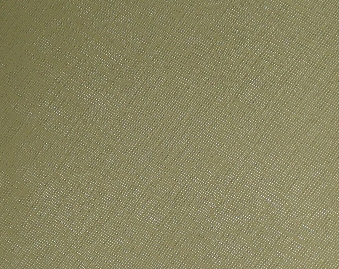 "Leather 12""x12"" Italian Olive Green Terrarium MOSS (Khaki) Weave Italian Embossed Cowhide 2.5-3oz/1-1.2mm PeggySueAlso™ E8201-48 hides too"