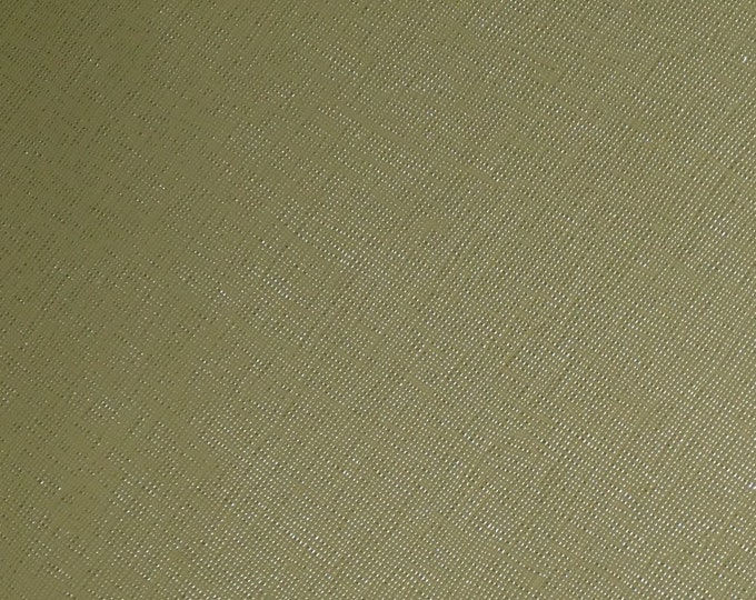 "Leather 8""x10"" Saffiano Olive Green Terrarium MOSS  (Khaki) Weave Embossed Italian Cowhide 2.5-3oz/ 1-1.2mm PeggySueAlso™ E8201-48 hides too"
