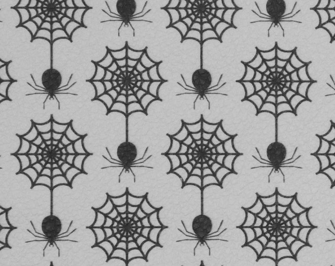 Halloween Leather 3 or 4 or 5 or 6 sq ft Black SPIDERS on WHITE Cowhide  2.75-3 oz/1.1-1.2 mm PeggySueAlso™ E4601-06