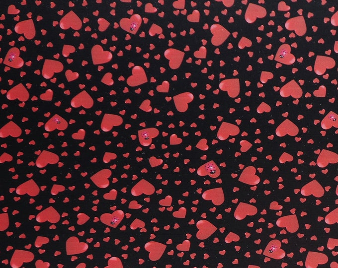"""Cork or Leather 12""""x12"""" RED HEART DANCE on Black w/Lady Bugs Smooth / FiRM not soft 3-3.25oz/1.2-1.3mm E1380-13 or cork E5610-129 Valentine"""
