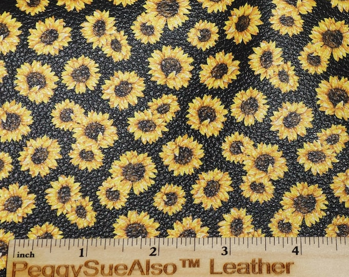 "Leather 8""x10"" Tiny Sunflowers Flowers on Black Cowhide 2.75-3 oz/1.1-1.2mm PeggySueAlso™ E1430-01 hides available"