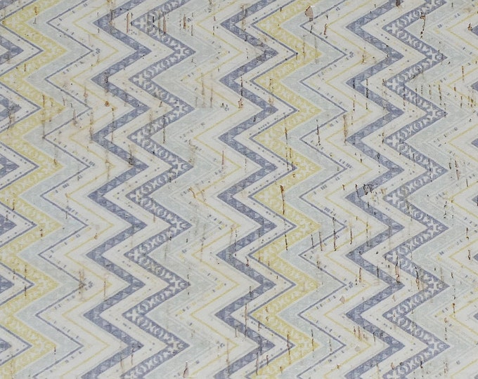 "NeW Cork Genuine Leather 12""x12"" ZIGZAG GRAY YELLOW White applied to Cowhide for body/strength Thick 5oz/2mm PeggySueAlso™ E5610-73"