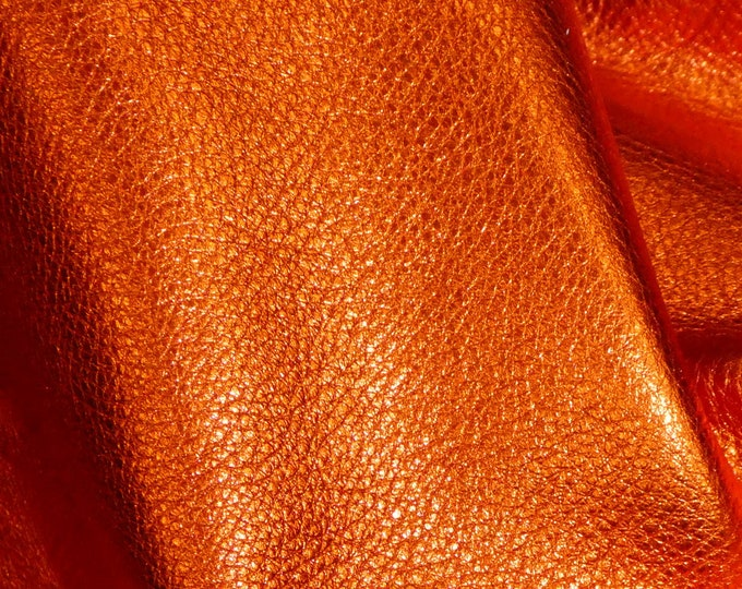 """Pebbled Metallic Leather 12""""x20"""", 15""""x15"""".. LOBSTER ORANGE Soft Cowhide  3-3.25oz/1.2-1.3mm PeggySueAlso™ E4100-18 Full hides available"""
