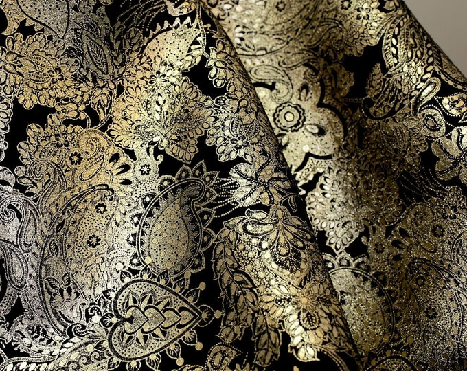 """8""""x10"""" Paisley Love PLATINUM Metallic on Black Soft Cowhide Leather 3-3.5oz /1.2-1.4 mm PeggySueAlso™ E3110-04 full hides too"""