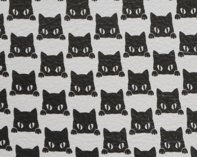 "Leather 12""x12"" PEEK A BOO Black Cats on White cowhide 3-3.25 oz / 1.2-1.3 mm PeggySueAlso™ E4700-05 hides available"