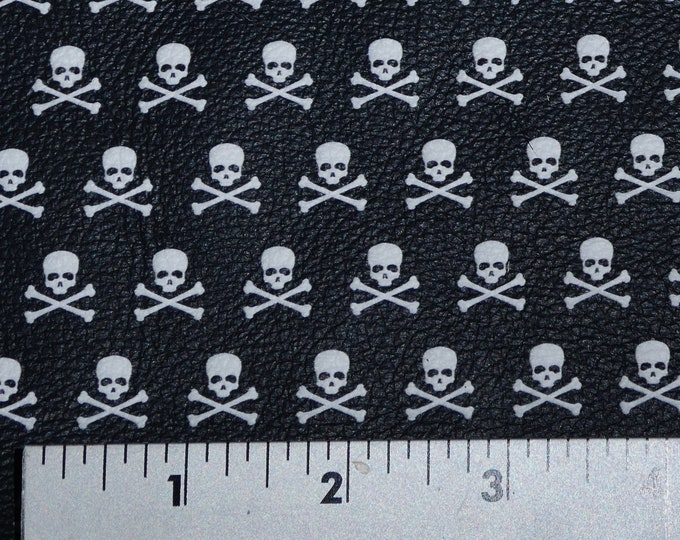Halloween Leather 3 - 4 - 5 sqft  Mini SKULLS and Crossbones on Black Cowhide 2.75-3 oz/1.1-1.2 mm PeggySueAlso™ E4601-01