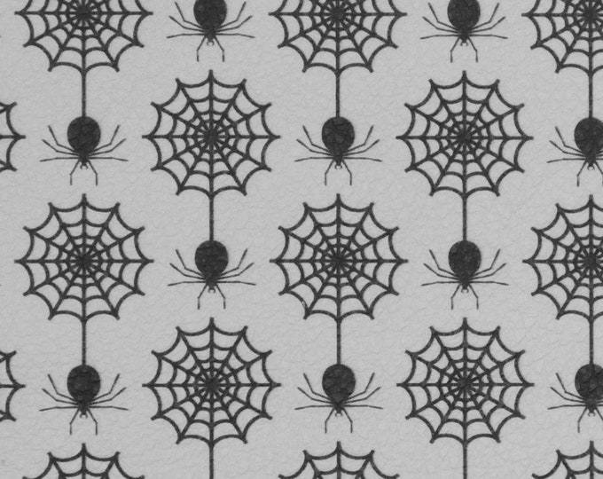 """Halloween Leather 8""""x10"""" Black SPIDERS on WHITE Cowhide 2.75-3 oz/1.1-1.2 mm PeggySueAlso™ E4601-06 perfect for earrings"""