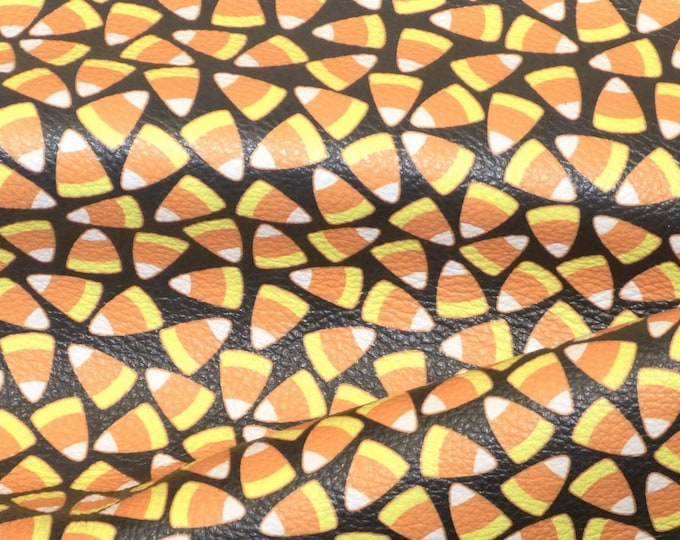 """Leather 12""""x12"""" CANDY CORN on BLACK Cowhide 2.75-3 oz/1.1-1.2 mm PeggySueAlso™ E4601-10 perfect for earrings"""