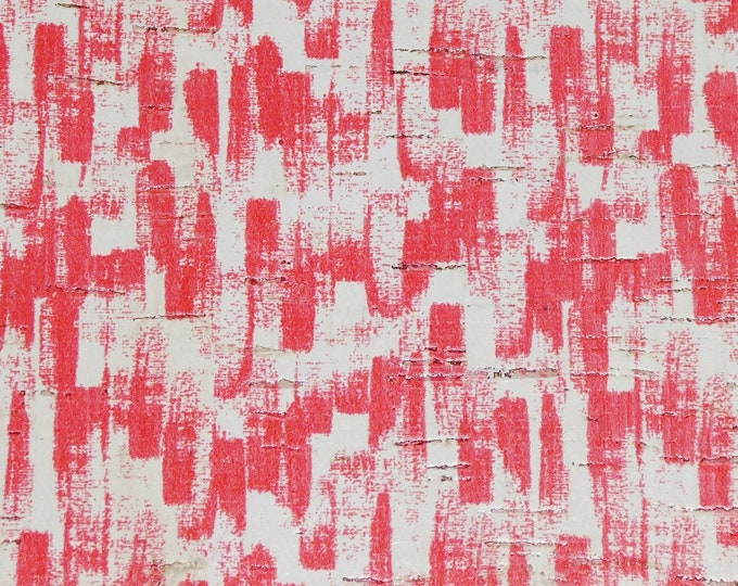 Cork 3-4-5 or 6 sq ft RED Paint Brush Strokes on white CORK applied to Real Leather for body /strength Thick 5oz/2mm E5610-99