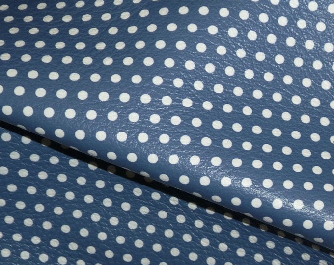 Leather 3 or 4 or 5 or 6 sq ft Small WHITE Polka Dots on DENIM Navy Blue (gray backside)  4 dots per inch 3-3.25oz / 1.2-1.3mm E3090-32
