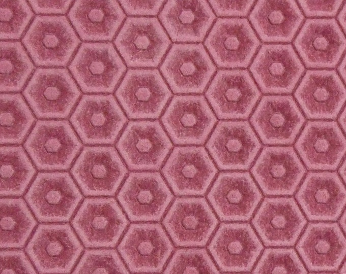 "Leather 8""x10"" HONEYCOMB Italian FLAMINGO PINK Cowhide 3 oz / 1.2 mm PeggySueAlso™ E3173-03 Hides available"