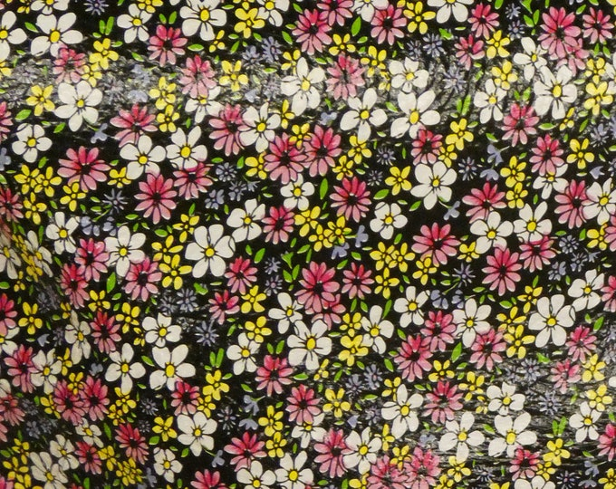 "Leather 15""x15"", 12""x20""... ARRAY of YELLOW PINK White Tiny Flowers on Black Cowhide 2.75-3 oz/1.1-1.2 mm PeggySueAlso™ E1200-01"
