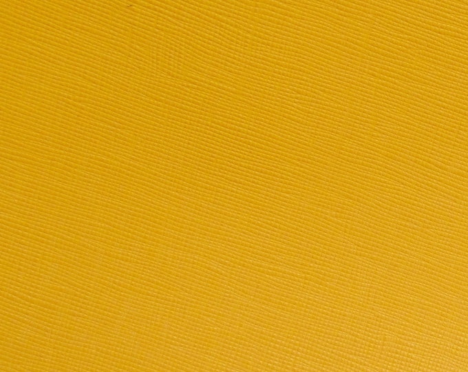 """FOUND SOME Leather 8""""X10"""" Saffiano YELLOW Gold Mustard Weave Embossed Cowhide 3.25-3.5 oz/1-.3-1.4mm PeggySueAlso™ E8201-22 limited on order"""