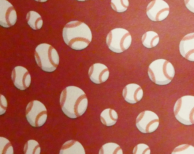 """Leather 5""""x11"""" BASEBALLS (5/8"""" largest) on Scarlet RED cowhide 2.5-3 oz / 1-1.2 mm #418 PeggySueAlso™ E1221-01 limited"""