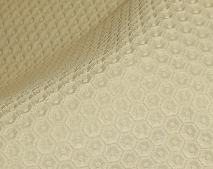 "Leather 12""x12"" HONEYCOMB Italian EGGSHELL / CREAM Cowhide 3 oz / 1.2 mm PeggySueAlso™ E3173-01 hides available"