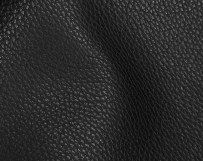 "Leather 12""x12"" Imperial BLACK Fully Finished Pebble Grain THICK but soft Italian Cowhide 3.75-4oz/1.5-1.6mm PeggySueAlso™ E3205-09"