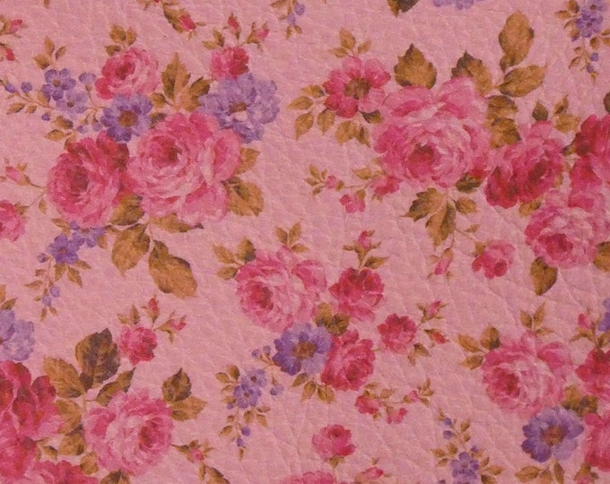 """Leather 8""""x10"""" Mini PINK Roses on PINK Flowers 2.75-3 oz / 1.1-1.2 mm PeggySueAlso™ E1205-02 Hides Available"""