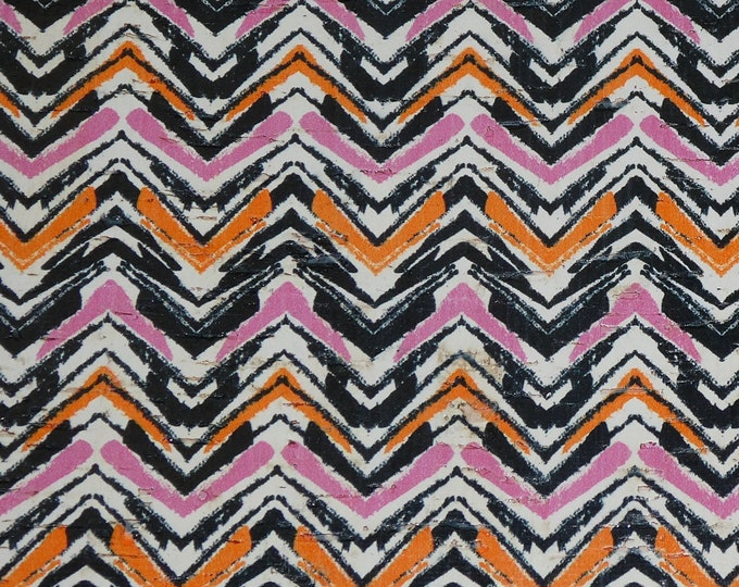 """Cork 8""""x10"""" Pink Orange Black Chevron PAINT BRUSH applied to CoRK on Leather 4 body/strength Thick 5oz/2mm PeggySueAlso™ E5610-67"""