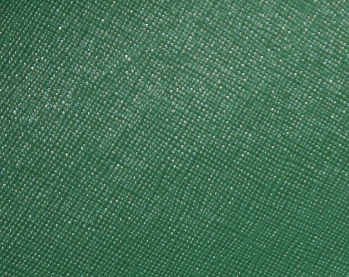 "Leather 12""x12"" Saffiano SHAMROCK Forest GREEN Weave Embossed Cowhide 2.5-3 oz/ 1-1.2 mm PeggySueAlso™ E8201-23 hides too"