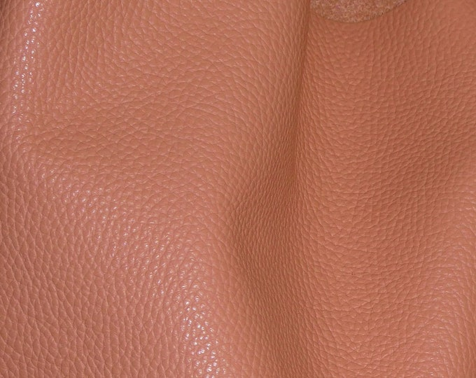 "Leather 8""x10"" Imperial RIPE PEACHY Salmon Fully Finished Pebble Grain THICK yet soft Italian Cowhide 3.75-4oz/1.5-1.6mm E3205-16"