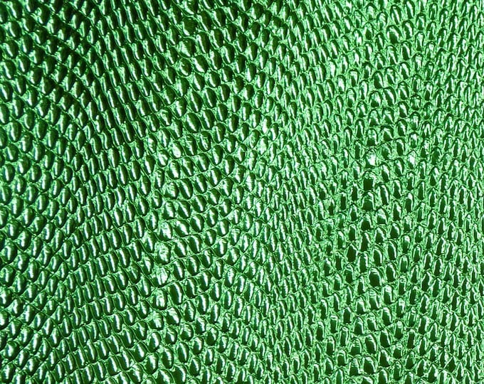"Metallic Leather 12""x12"" Amazon Cobra EMERALD GREEN Embossed Cowhide 2.5-2.75 oz / 1-1.1mm PeggySueAlso™ E2846-12"