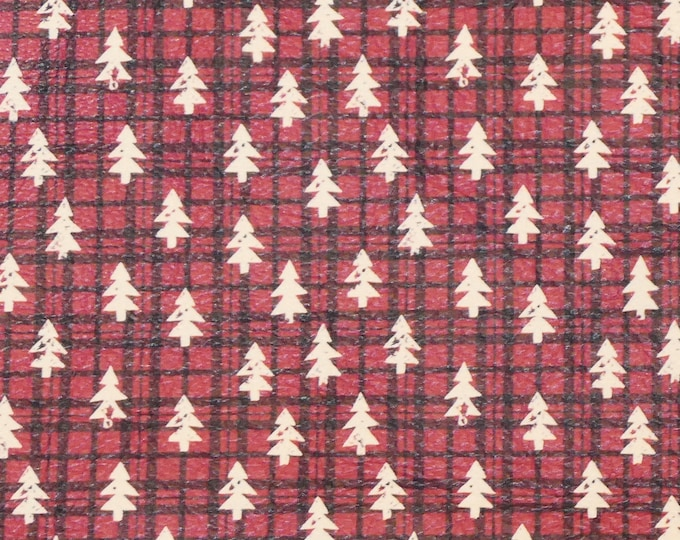 NEW Leather 3-4-5 or 6 sq ft TINY White Christmas TREES on Red and Black plaid Cowhide 3-3.5 oz/1.2-1.4 mm PeggySueAlso™ E1382-16 hides too