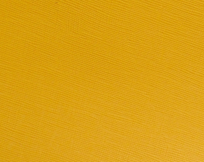 """Leather 8""""x10"""" Saffiano YELLOW Gold Mustard Weave Embossed Cowhide 3.25-3.5 oz/1-.3-1.4mm PeggySueAlso™ E8201-22 hides available"""