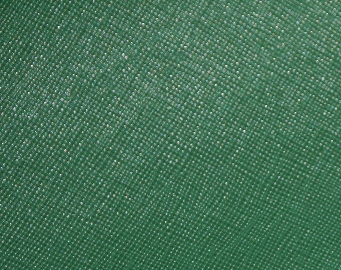 "Leather 8""x10"" Saffiano SHAMROCK Forest GREEN Weave Embossed Cowhide 2.5-3 oz/ 1-1.2 mm PeggySueAlso™ E8201-23 hides too"