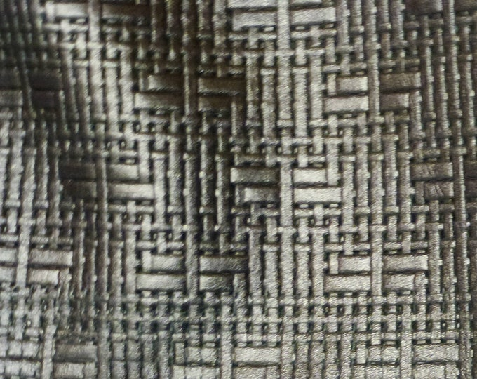 """Metallic Leather 8""""x10"""" Panama PEWTER Soft Basket Weave Embossed Cowhide 2-2.5 oz/0.8-1 mm PeggySueAlso™ E8000-10"""
