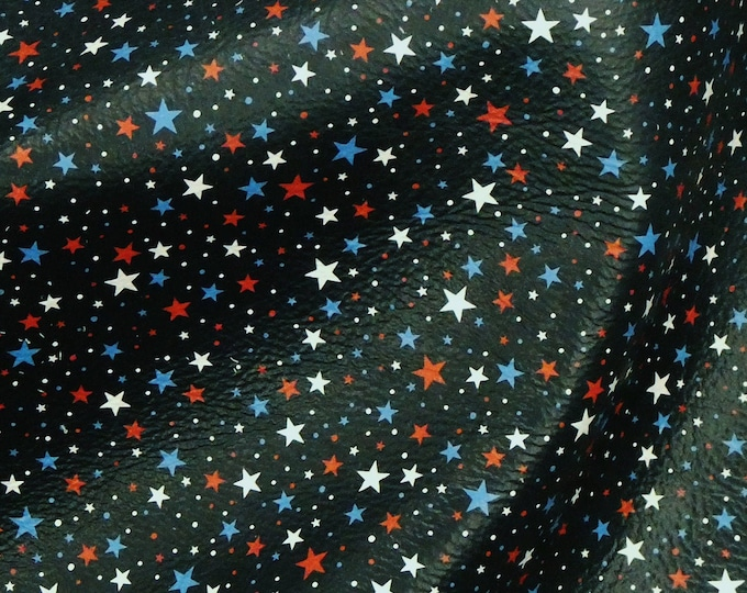 """Leather 12""""x12"""" Tiny Stars Red white and Blue on Dark NAVY Pebbled cowhide 3-3.5oz/1.2-1.4 mm PeggySueAlso™ E2752-02"""