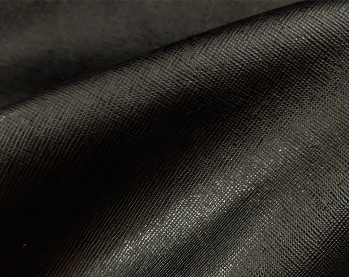 "Leather 12""x12"" Saffiano BLACK Weave Embossed Cowhide 2.5-3oz/ 1-1.2mm PeggySueAlso™ E8201-09 hides available"