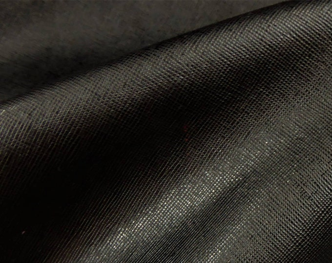 "Leather 8""x10"" Saffiano BLACK Weave Embossed Cowhide 2.5-3oz/ 1-1.2mm PeggySueAlso™ E8201-09 hides available"