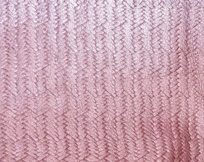 """Metallic leather 12""""x12"""" Braided Fishtail PASTEL Pink (soft, FLAT, not FIRM) Cowhide 2.5-2.75 oz/1-1.1mm PeggySueAlso™ E3160-42 close out"""
