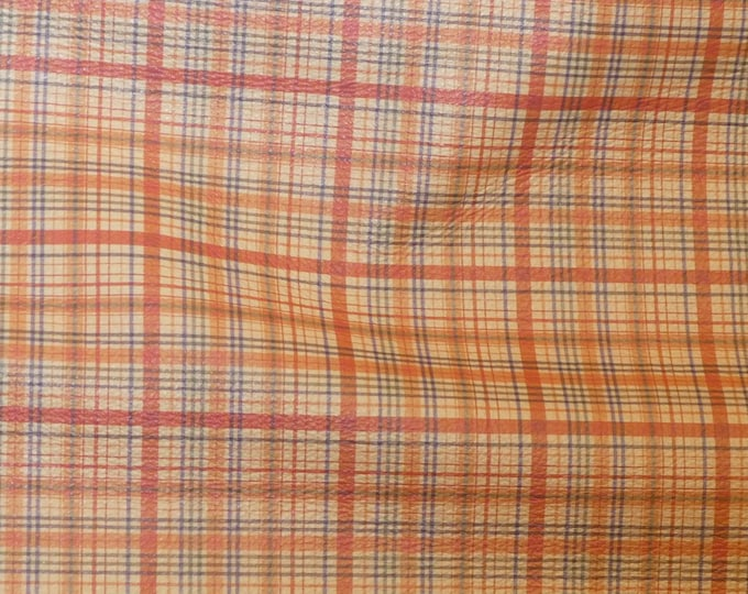 "Leather 8""x10"" Tartan Plaid Print ORANGE and YELLOW and Navy Stripe Cowhide 3-3.5 oz / 1.2-1.4 mm PeggySueAlso™ E2178-03 Hides available"