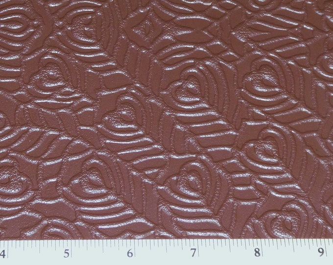 """Leather 8""""x10"""" PEACOCK FEATHERS Brandy Chocolate Brown Print Soft Grain Cowhide 3 oz / 1.2 mm PeggySueAlso™ E6765-01"""