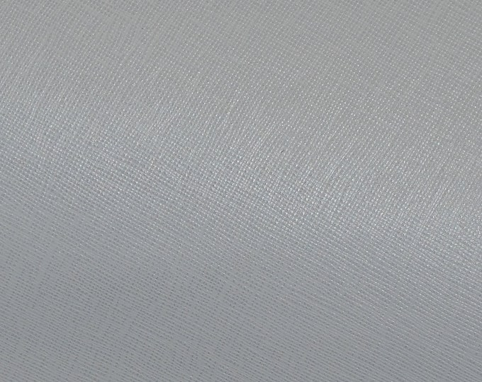 "Leather 12""x12"" Saffiano NEUTRAL GRAY Weave Embossed Cowhide 2.5-3 oz/ 1-1.2 mm PeggySueAlso™ E8201-44 hides too"